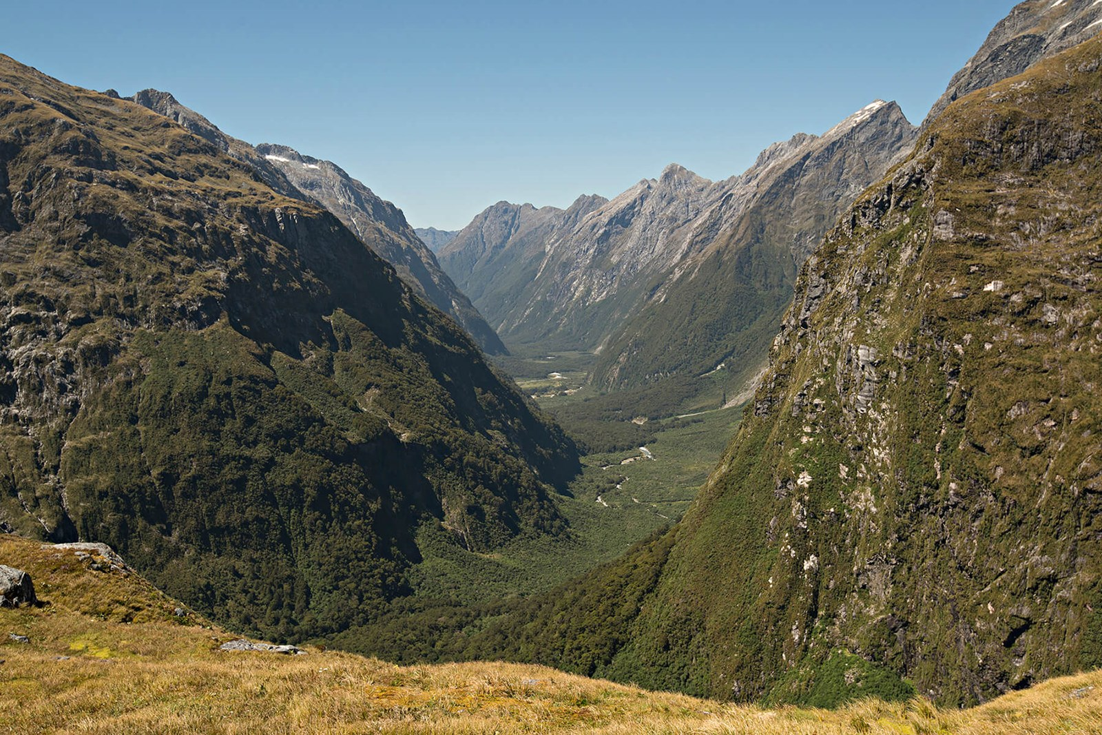 Clinton valley from Mackinnon Pass - Milford Track guided walk