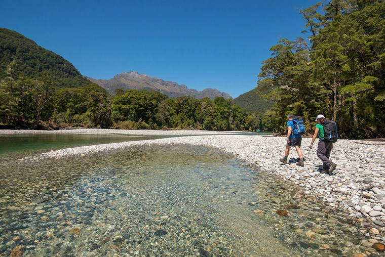 walking beside the Clinton River - Milford Track guided walk