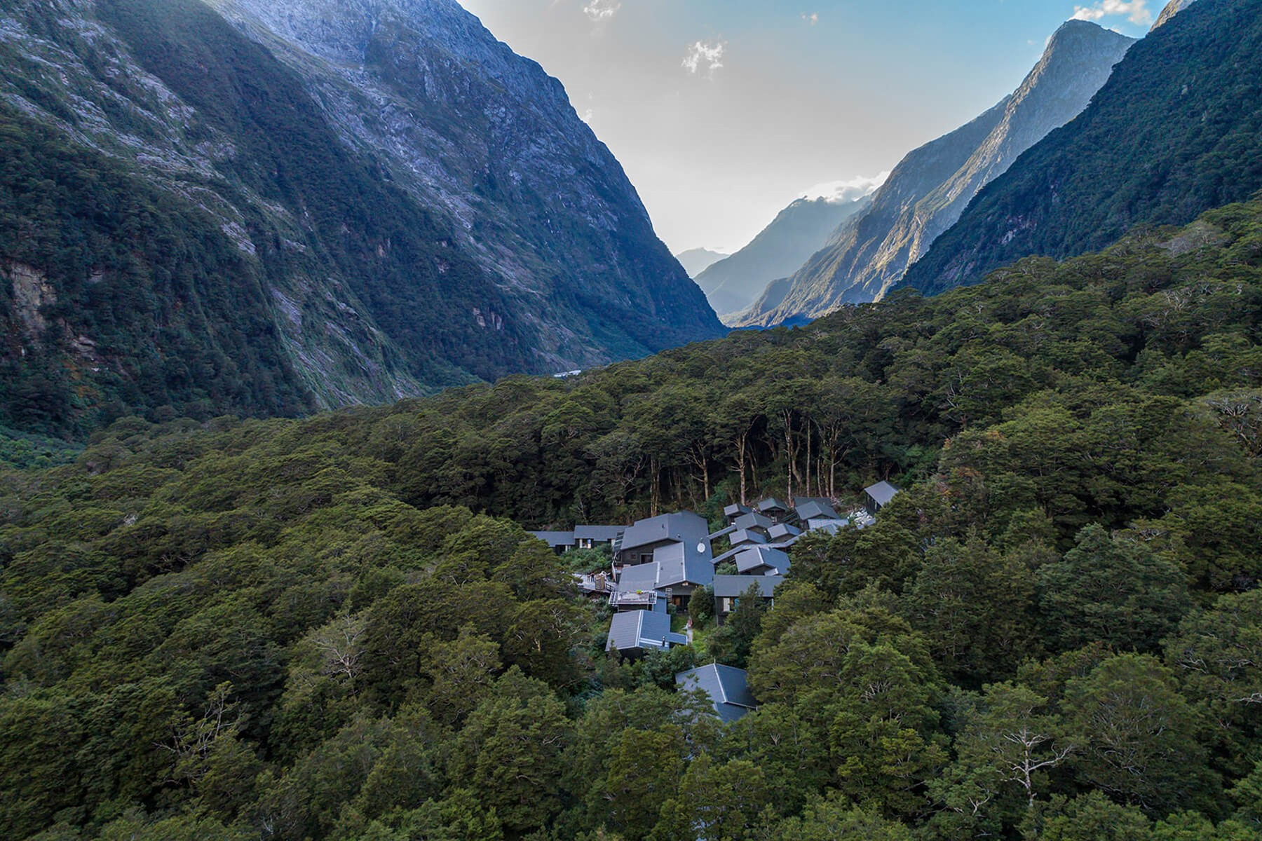Aerial view of Pompolona Lodge - Milford Track guided walk