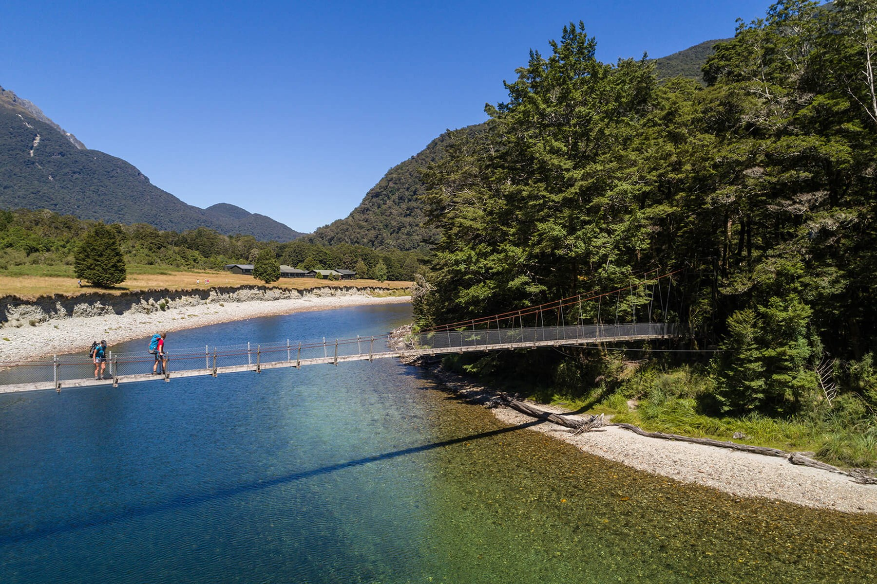 Clinton river bridge on the Milford Track guided walk