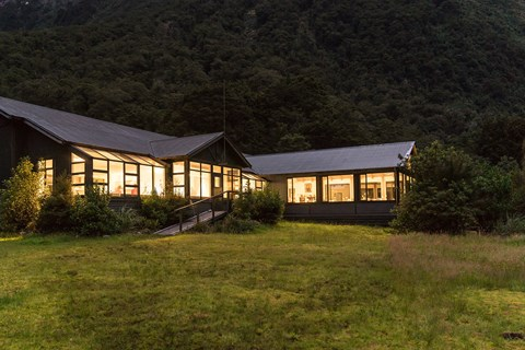 Quintin Lodge in the evening on the Milford Track guided walk