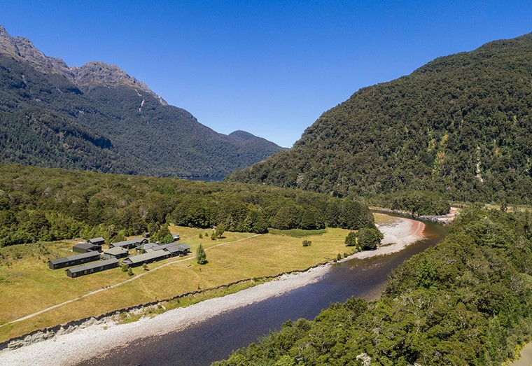 Aerial view of Glade House on the Milford Track guided walk